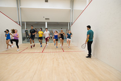 Pro Squash players work with Taft athletes