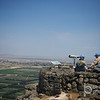 United Nations officers keeping an eye on Syria from Mt. Bental in the north of Israel
