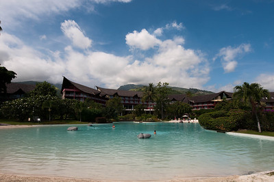 A view of the main resort building from the white-sand pool. The weather was party-cloudy and not as humid as the day before.