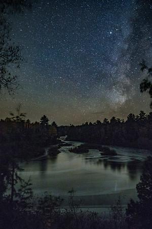 The Milky Way over Lower Tahquamenon Falls