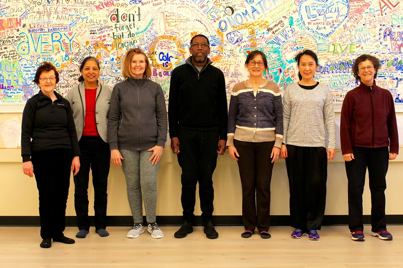 Beginners' Tai Chi class: Joanne, Chandrika, Marilyn, Scott, Diane, Virginia, Janice.