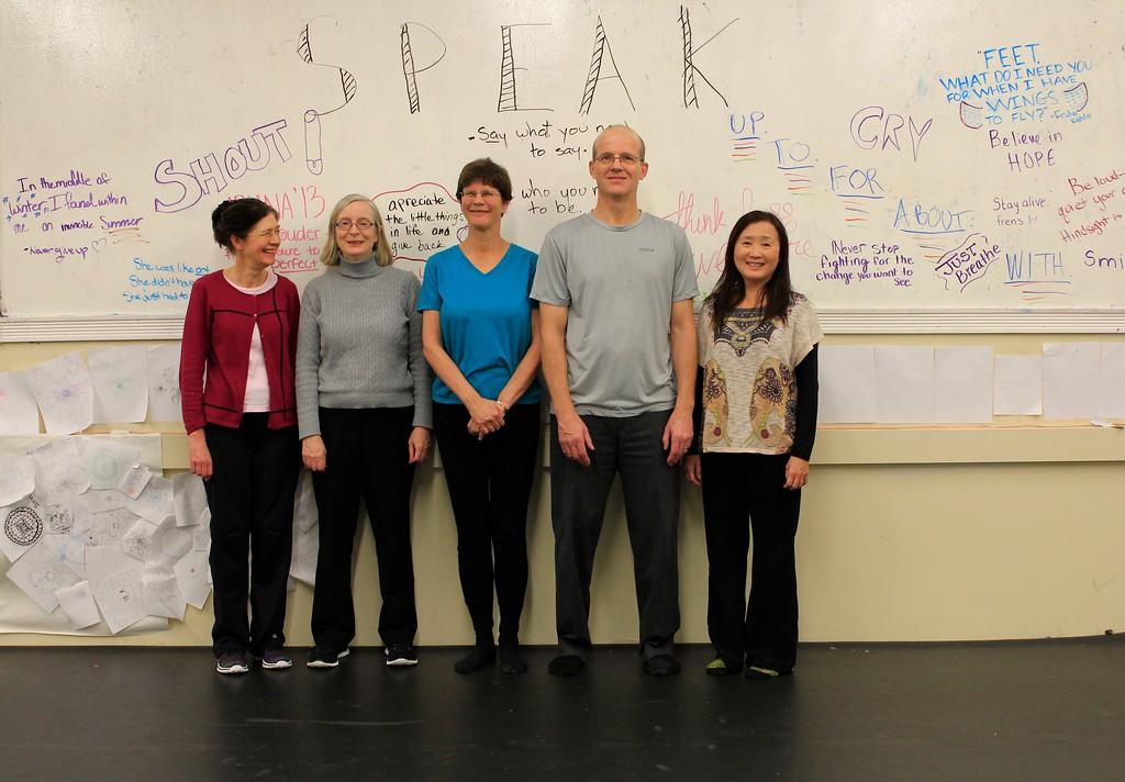 Advanced Tai Chi class: Elaine, Cindy, Nancy, Simon, Siewjoo.