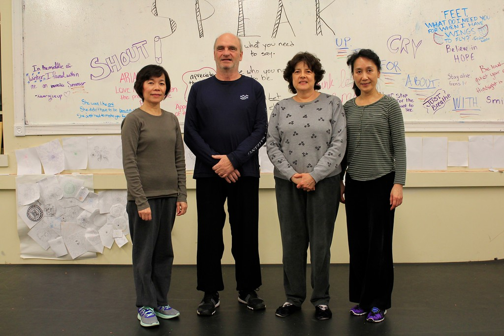 Advanced Tai Chi & Sword class: Lucia, Stephan, Rosalie, Virginia. - Missing Ed and Ling.