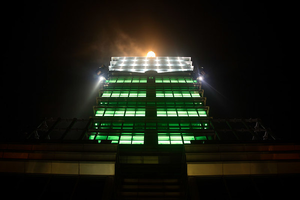 The top of Taipei 101, like a spaceship taking off.