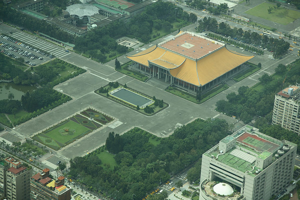 An aerial view of the Sun Yat-sen memorial hall.