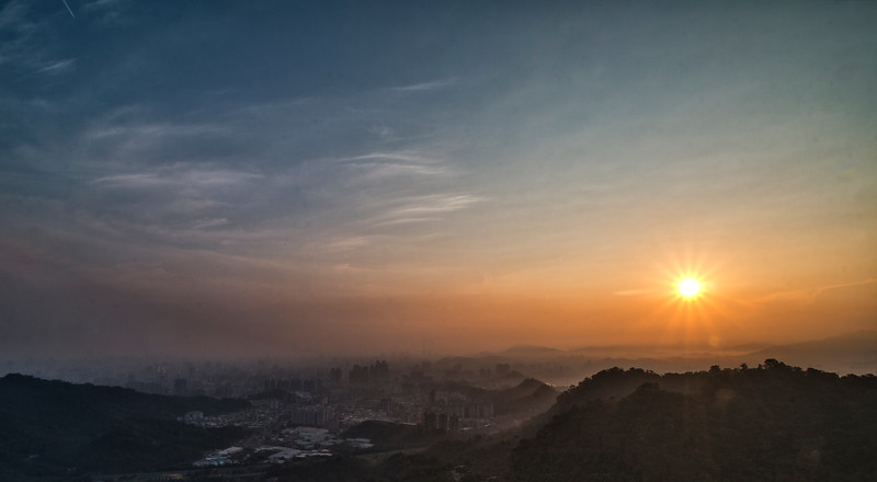 Sunrise over Taipei City