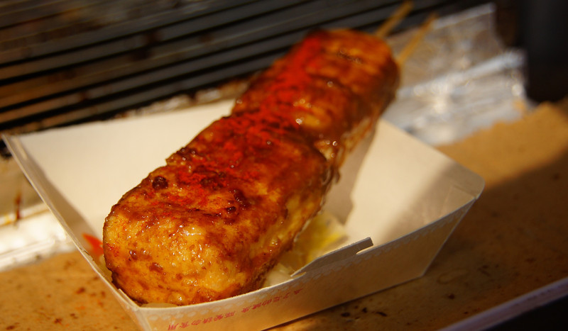 """Stinky tofu on a skewer as a popular street food snack - Taipei, Taiwan.  This is a travel photo from Taipei, Taiwan. <a href=""""http://nomadicsamuel.com"""">http://nomadicsamuel.com</a>"""