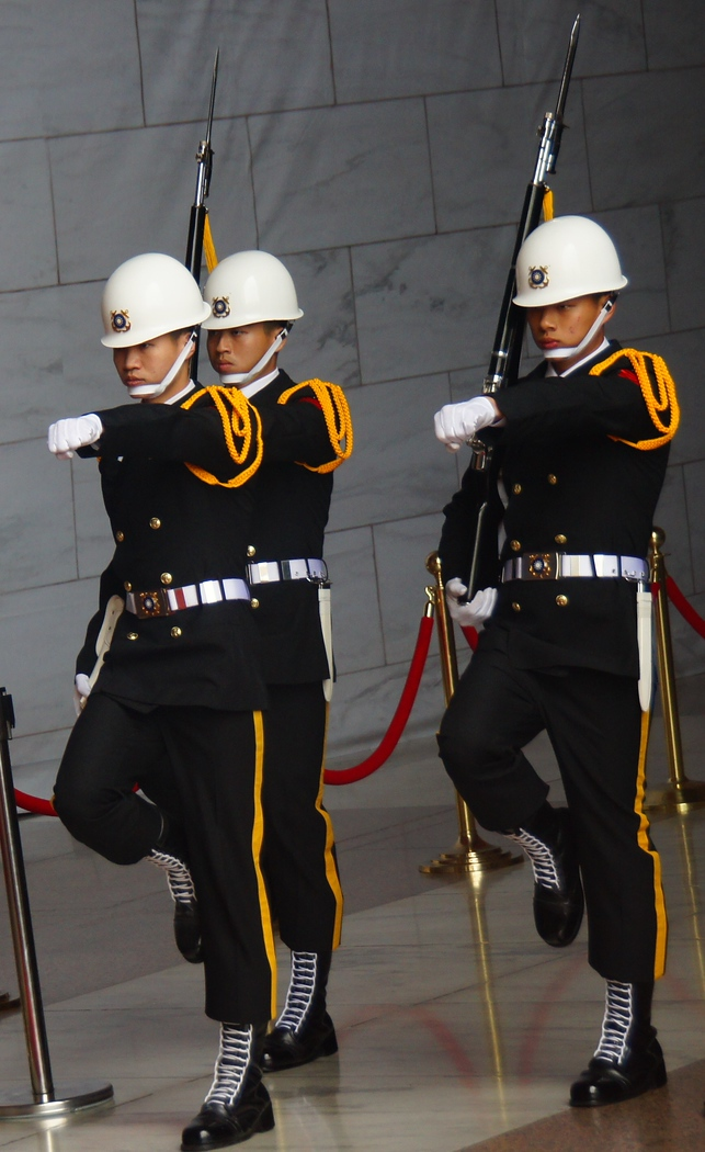 Uniformed soldiers changing of the guard at Chiang Kai Shek Memorial - Taipei, Taiwan.  Travel photo from Taipei, Taiwan.