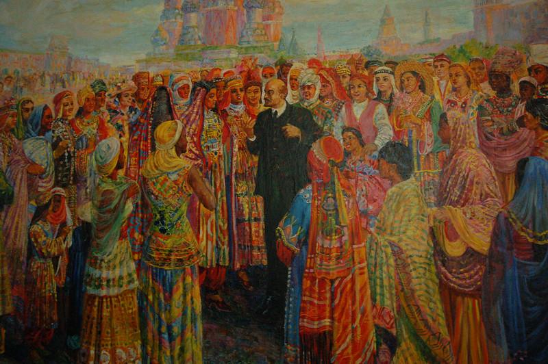 Lenin listening to the oppressed women of the world (Bekhzod Museum).