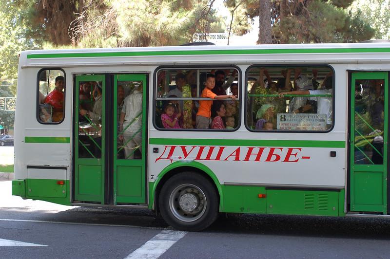 A public bus in Dushanbe.