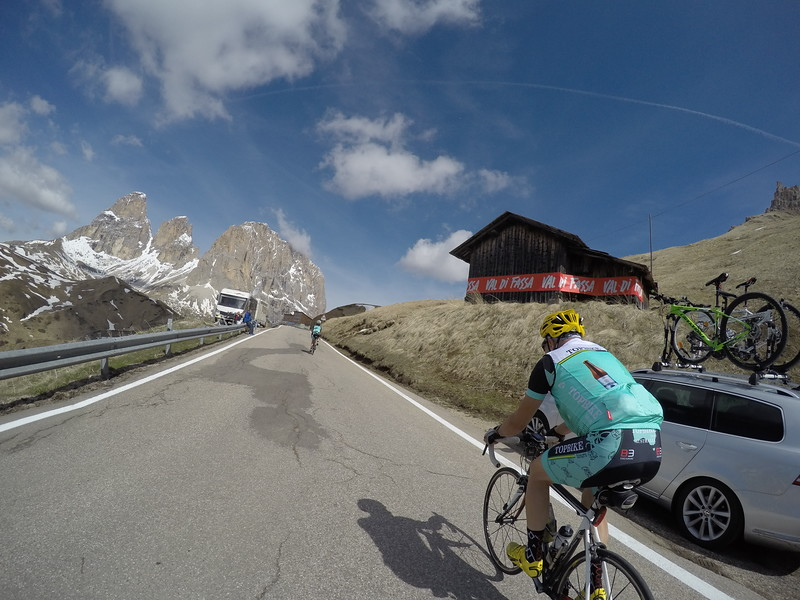 Half way up Passo Sella