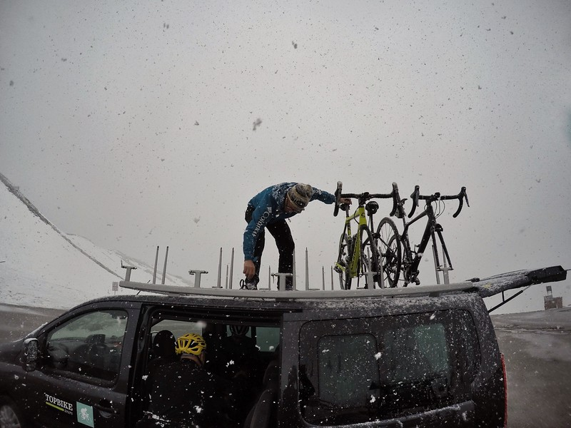Poor David had to put our bikes up the roof of van as no one wished to descend