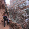 Sat 12/22 - We do an initial recon of the Angels Landing trail.  This is a very famous hike in Zion N.P. so we were curious to experience its challenges.  You can reach the summit of the 1,488 foot tall rock formation in 2.7 miles.  It's a strenuous hike.  Jeannie sits with her back to Refrigerator Canyon.  Its name comes from the cold winds that whip through here.