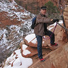 Here's a section of trail you feel some exposure when transversing.  Staying focused on your line and choosing good stepping points is key to avoiding problems.  This partial exploration of Angels Landing gives us a good idea of what we're in for.