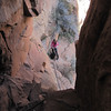 Here's a look down from my belay point.  Jeannie is tying in and getting ready to come through the boulder section.