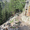 Here's a nice wide flat section of trail that's an easy hike.  You can get a good view of Ouray from this point.