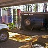 Diahatsu pulling Range Rover out of chook shed. V8 350 has a stuck engine valve.