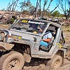 Kimbas John as navigator enjoys the Rocsta action. Note hing up rego plate to access tow ball.