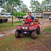 Keith on hos quad with Cassidy and Mulga Bill. His caravan (Brian supplied & built the air space roof over it) before he took it to Rockhampton. His Holden ute. tinnie and tray Toyota 4x4. MF tractor/slasher