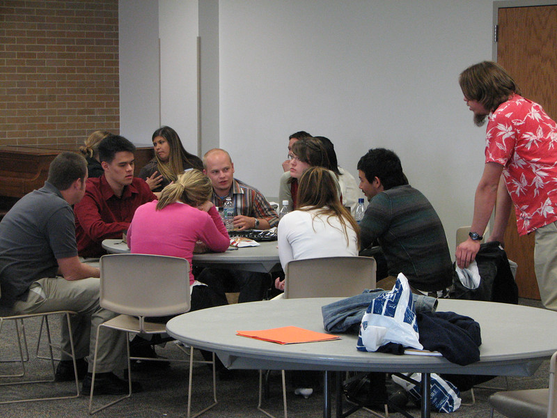 2007 04 10 Tue - BYU Day - Small group student discussions 5 - John Stringer, Billy Maxfield, Kristi Bjorkman, & Dan Perez