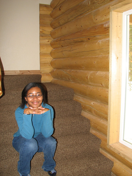 2007 04 15 Sun - Debrief Cabin - Danielle Ross hiding on stairs 2