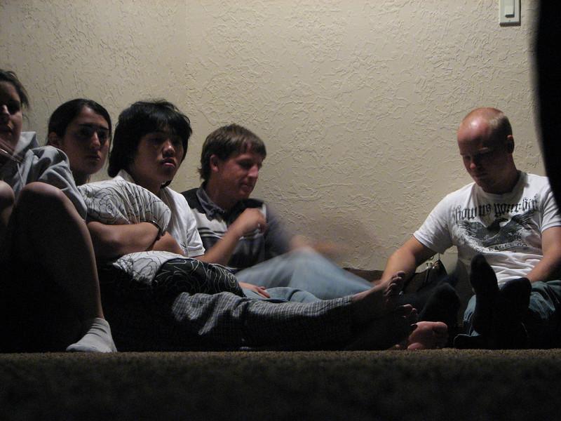 2007 04 14 Sat - Debrief Cabin - Ashley Marino, Marisa Casias, Chris Yap, Justin Barr, & Billy Maxfield before debrief