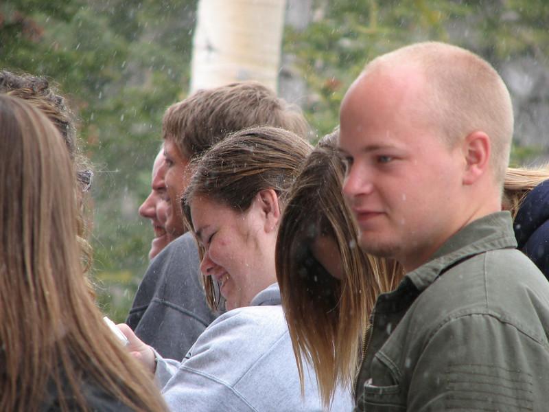 2007 04 15 Sun - Debrief Cabin - Stacey Warner, Justin Barr, Sarah Heywood, & Billy Maxfield on deck