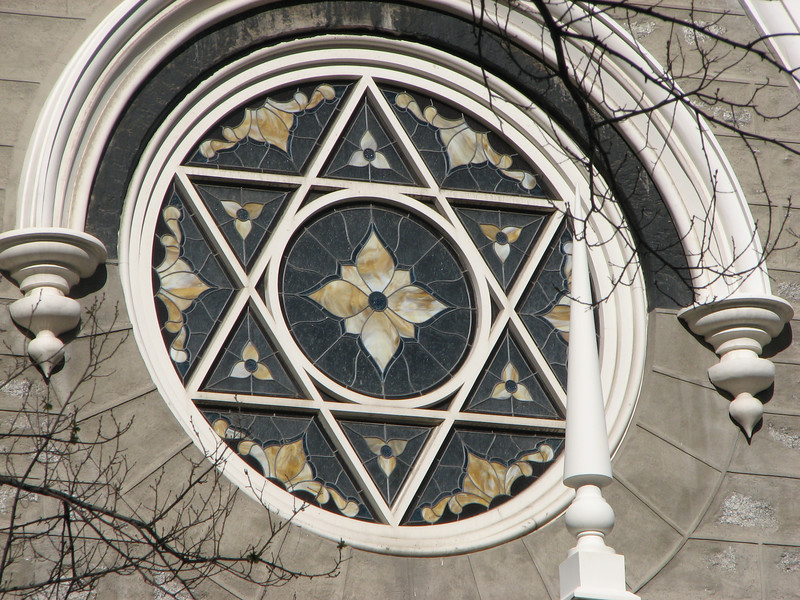 2007 04 11 Wed - Temple Square - Temple Ward close up of Star of David stain glass window