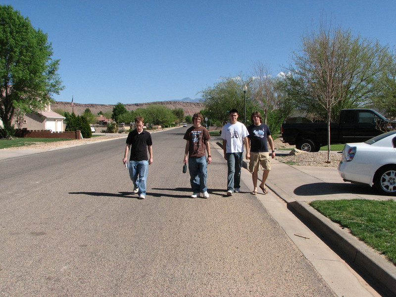 2007 04 07 Sat - Josh Jones, Justin De Vesta, John Stringer, & Brandt Hanslik on our prayer walk around St  George