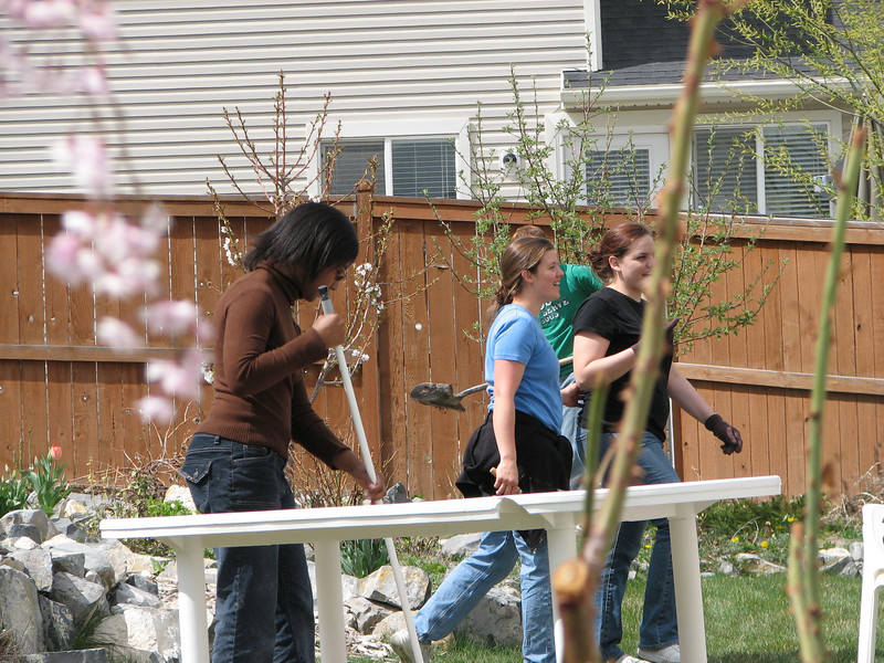 2007 04 09 Mon - Coram Deo's Mormon neighbors' service projects 03 - Danielle Ross, Amy, & Jennie Beckwith gardening