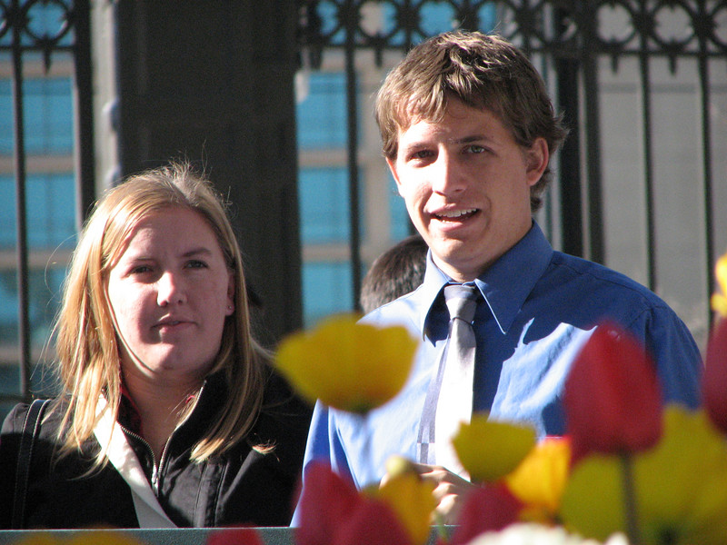 2007 04 11 Wed - Temple Square - Stacey Warner & Justin Barr beyond the tulips