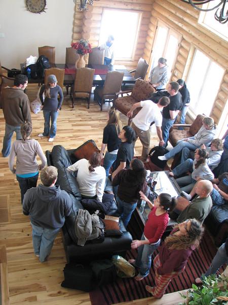2007 04 14 Sat - Debrief Cabin - group settles in