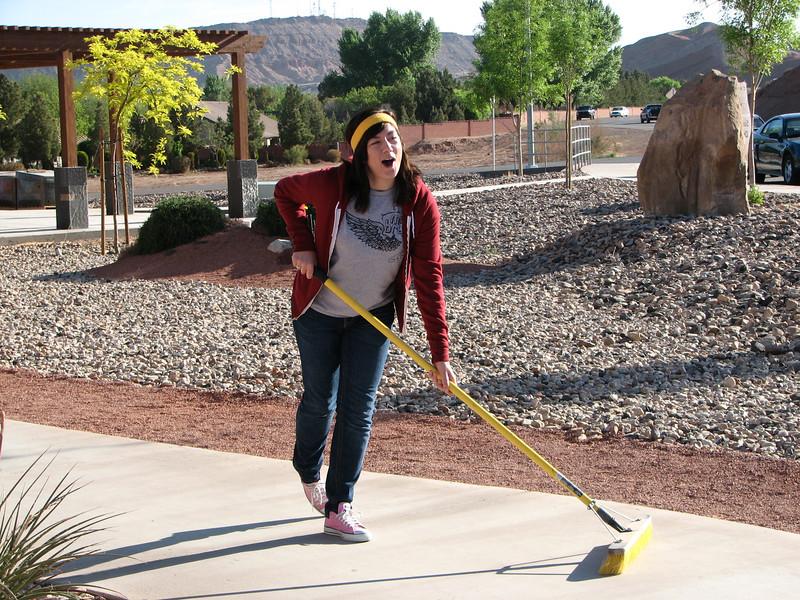2007 04 07 Sat - Heather Olson sportin' a sweatband while sweepin' 1