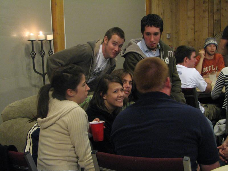 2007 04 13 Fri - Hangout Day @ Christ EV Free - Angelina D'Angelo, Gordo Hendrickson, Kristi Bjorkman, Brandt Hanslik, John Dunne chatting