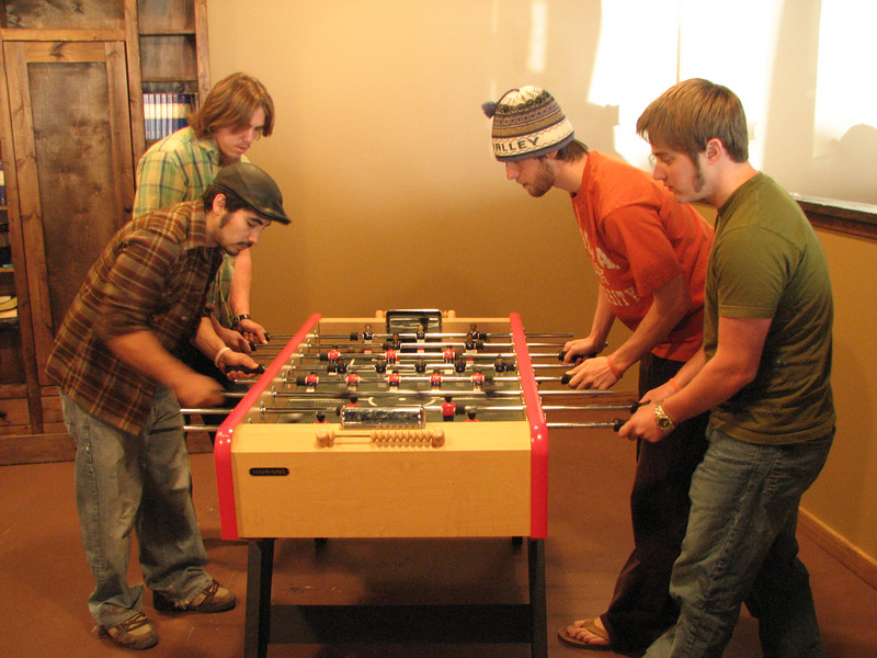 2007 04 13 Fri - Calvary Mountain View - Brandt Hanslik & Pastor Sam Gonzales take on Adam Moon & Dan Howen in foosball