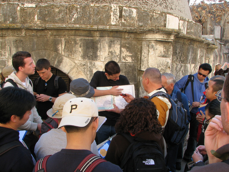 2007 12 29 Sat - Old City walk - Nate Foreman lecture on top of Church of Holy Sepulcre