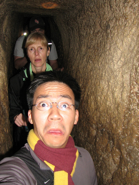 2007 12 30 Sun - Kevin & Patty Lawson, & Ben Yu in Hezekiah's Tunnel 1