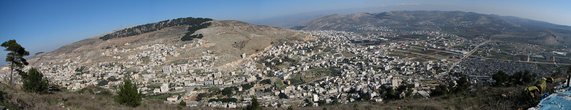 Mt Ebal from Mt Gerizim, & Shechem in between panoramic