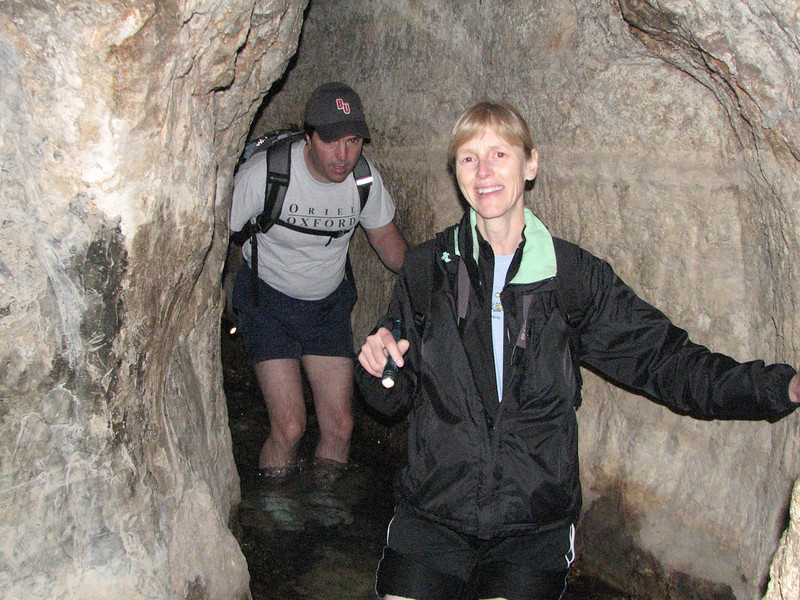 2007 12 30 Sun - Kevin & Patty Lawson getting their feet wet in Hezekiah's Tunnel