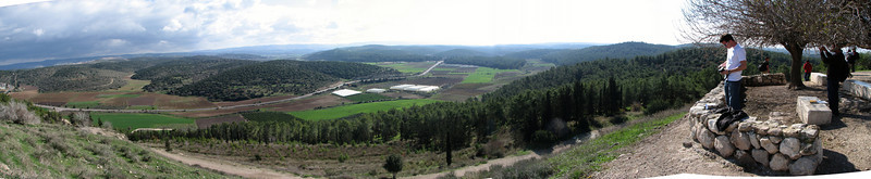 David Kinnen on Azekah overlooking Elah Valley where David defeated Goliath panoramic