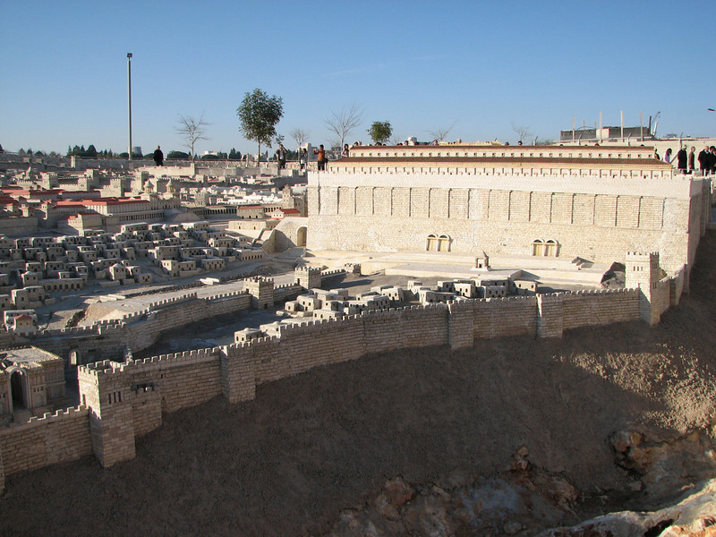 2007 12 29 Sat - Jerusalem Museum - model of city - southern Temple Mount Wall & City of David 1