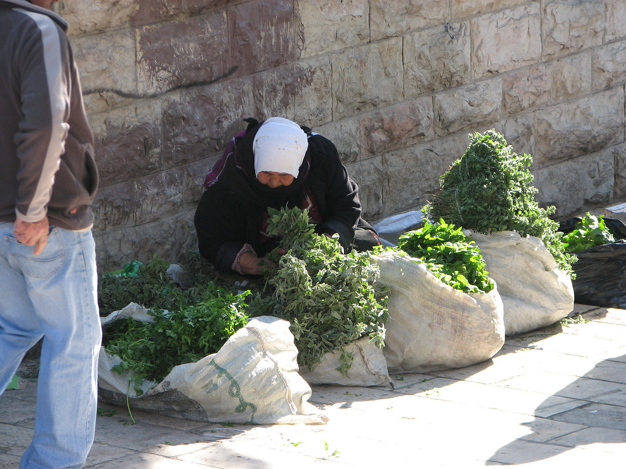 2007 12 29 Sat - Old City walk - Damascus Gate market woman 1 on North side of Old City