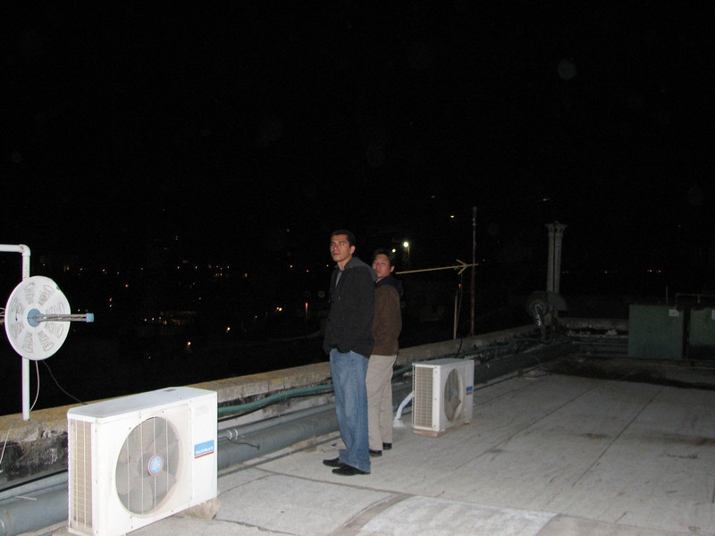 2008 01 01 Tue - Love birds Jorge Cota & Peter Kim admiring the view from our hotel roof on New Year's Eve