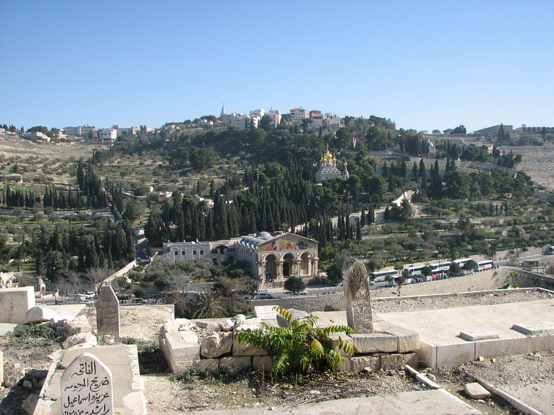 2007 12 29 Sat - Old City walk - Eastern Temple Mount Wall - view of Mt of Olives from muslim cemetery against outside of Temple Mt Wall - Gethsemane Basilica of Agony, St Mary Magdalene church, & Dominus Flevit