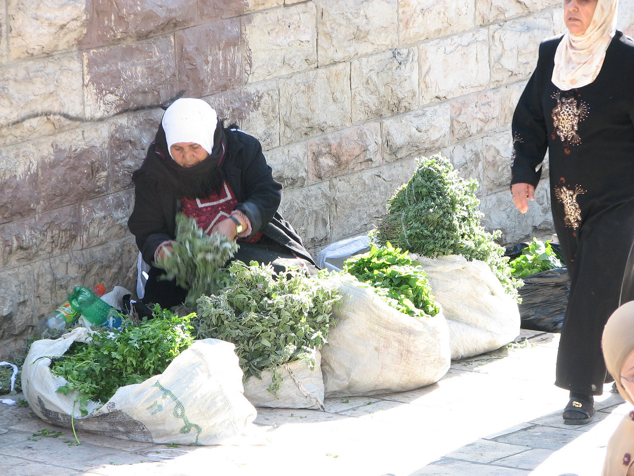 2007 12 29 Sat - Old City walk - Damascus Gate market woman 2 on North side of Old City
