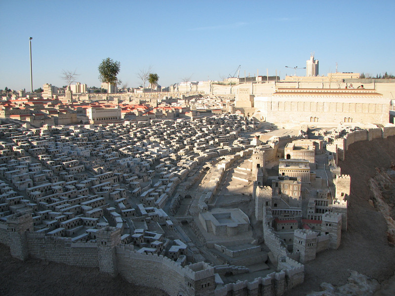 2007 12 29 Sat - Jerusalem Museum - model of city - southern Temple Mount Wall & City of David 2