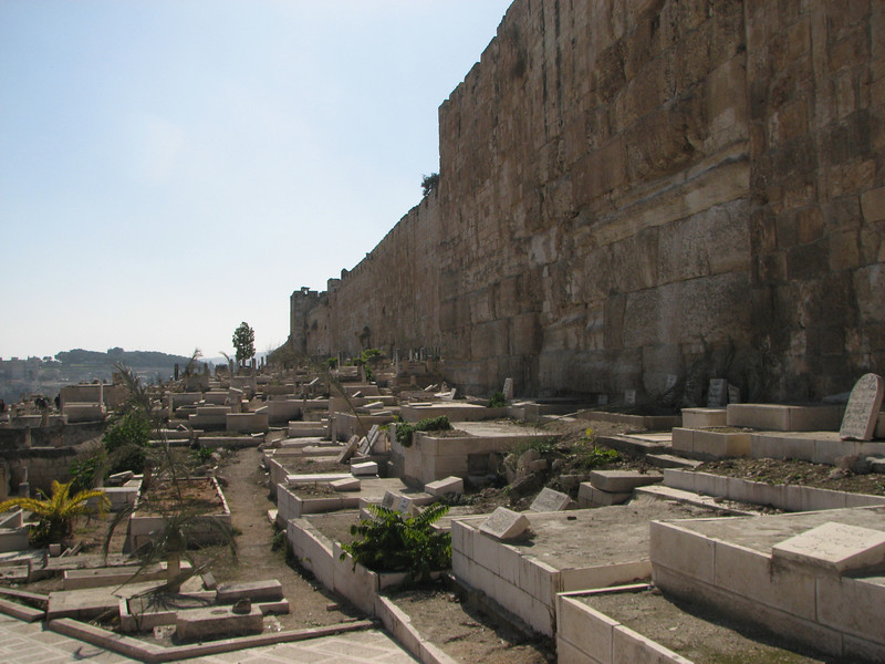 2007 12 29 Sat - Old City walk - Eastern Temple Mount Wall - muslim cemetery against outside of Temple Mt Wall 1