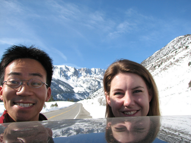 2008 02 10 Sun - Yosemite from Rt 120 just before road closure plus 2 floating heads - Ben Yu & Lori Fulton