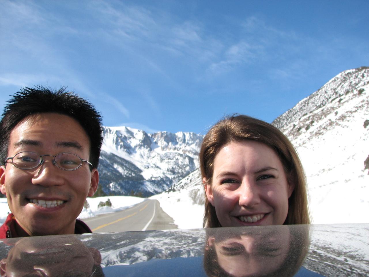 2008 02 10 Sun - Yosemite from Rt 120 just before road closure plus 2 floating heads - Ben Yu & Lori Fulton