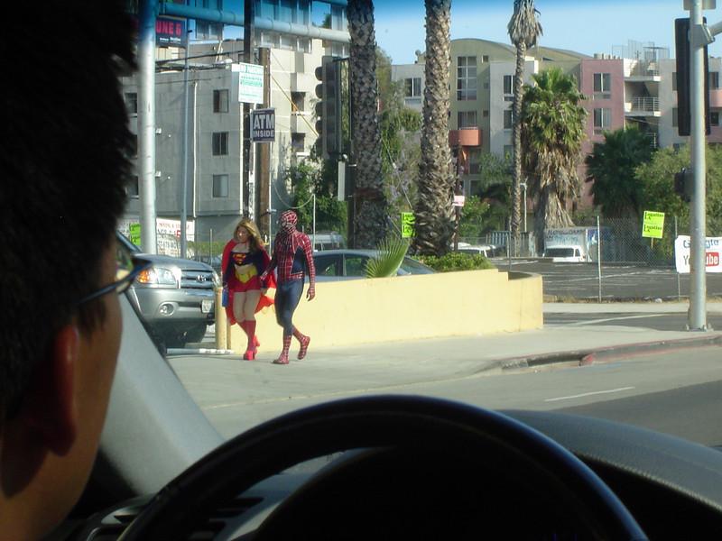 Superwoman & Spiderman on Hollywood sidewalk - poor Superman 2